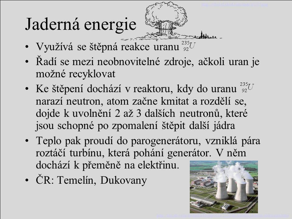 Jaderná energie Využívá se štěpná reakce uranu