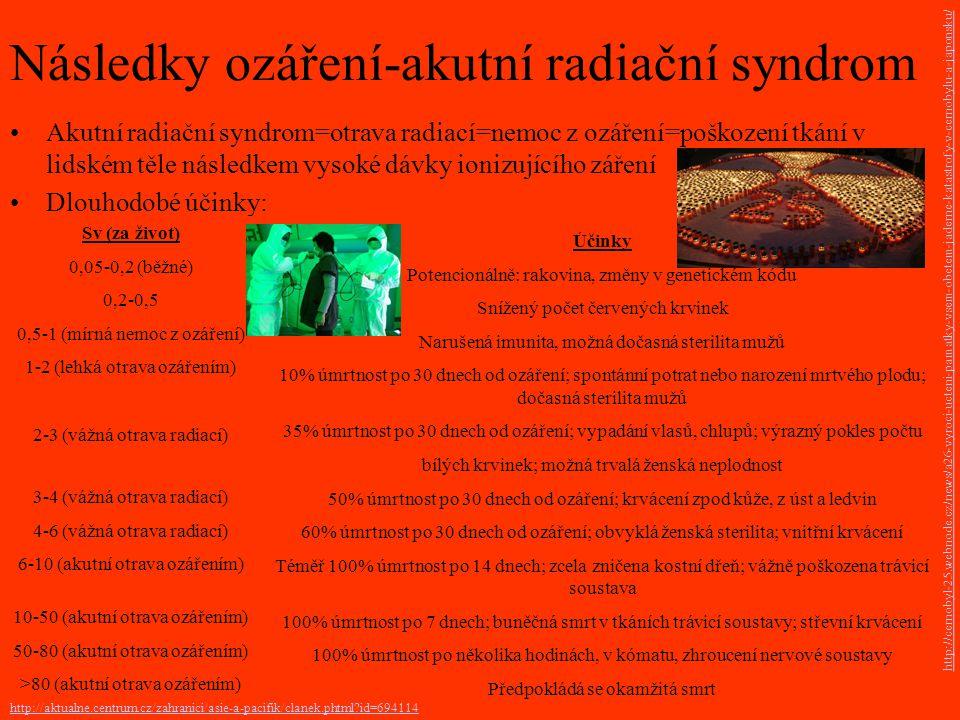Následky ozáření-akutní radiační syndrom