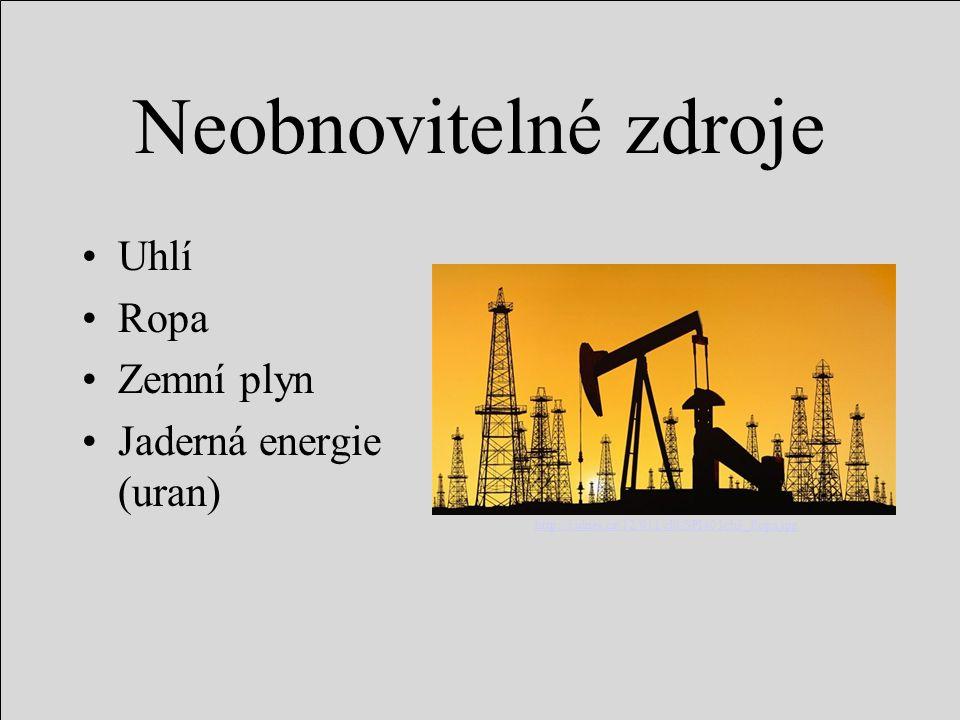 Neobnovitelné zdroje Uhlí Ropa Zemní plyn Jaderná energie (uran)