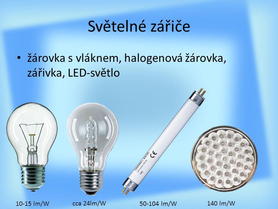 Světelné zářiče žárovka s vláknem, halogenová žárovka, zářivka, LED-světlo. 10-15 lm/W. cca 24lm/W.