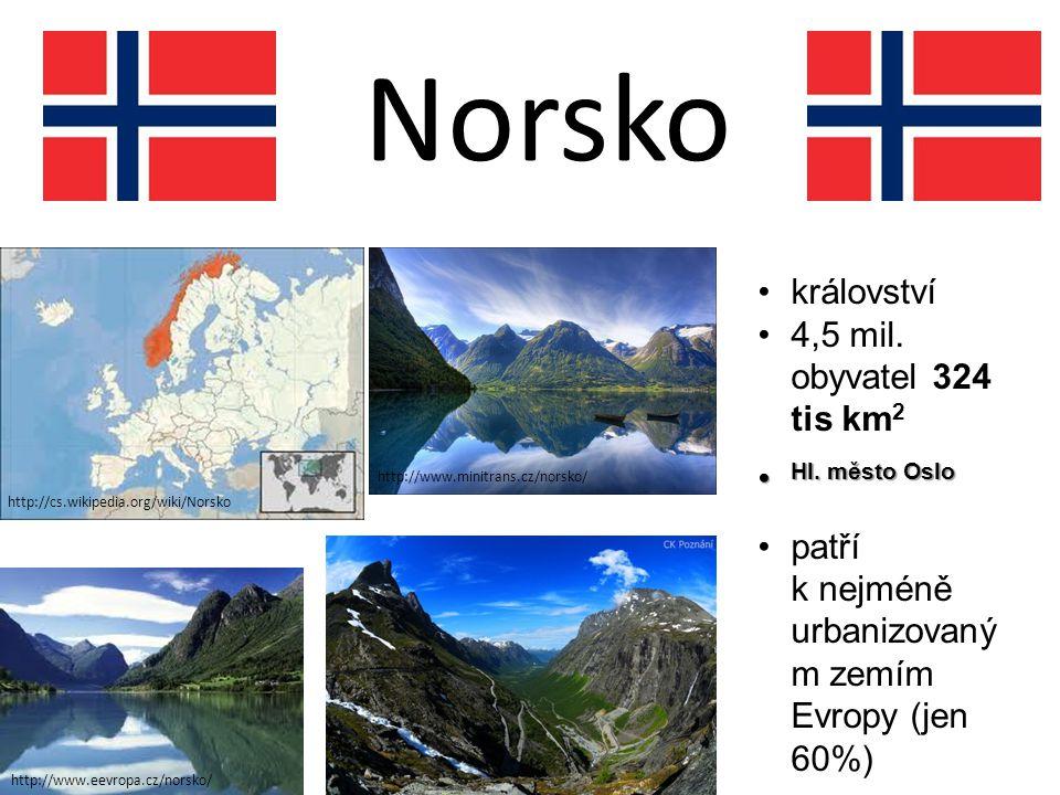 Norsko království 4,5 mil. obyvatel 324 tis km2 Hl. město Oslo