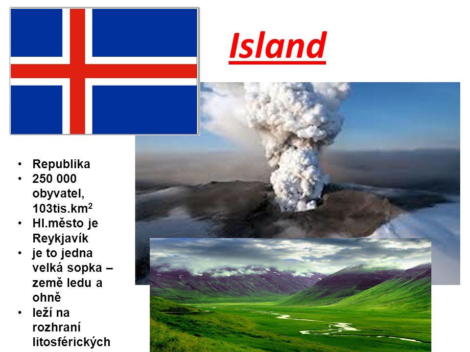 Island Republika 250 000 obyvatel, 103tis.km2 Hl.město je Reykjavík