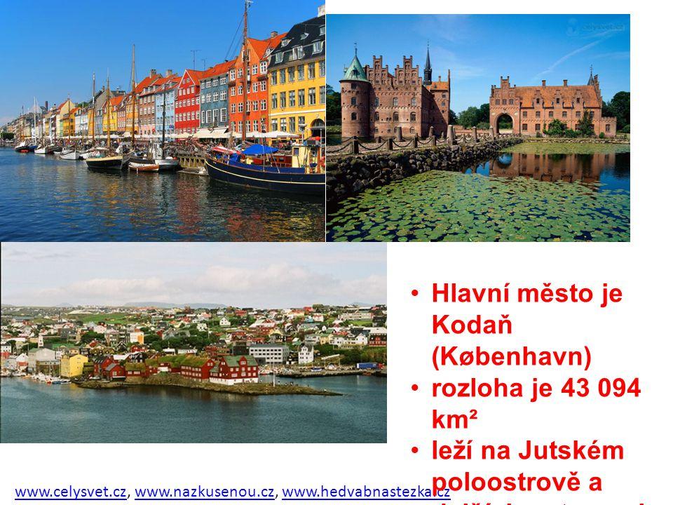 Hlavní město je Kodaň (København) rozloha je 43 094 km²