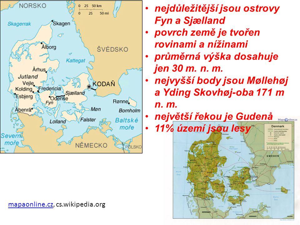 nejdůležitější jsou ostrovy Fyn a Sjælland