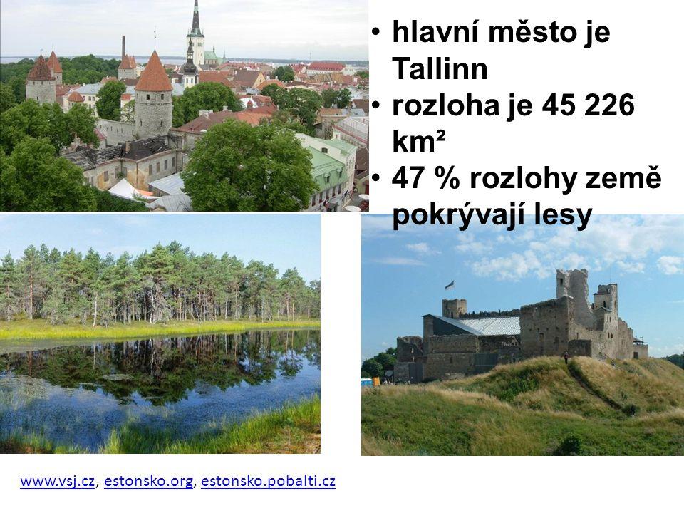 hlavní město je Tallinn rozloha je 45 226 km²