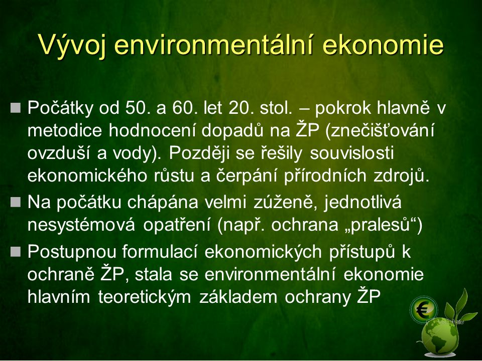 Vývoj environmentální ekonomie