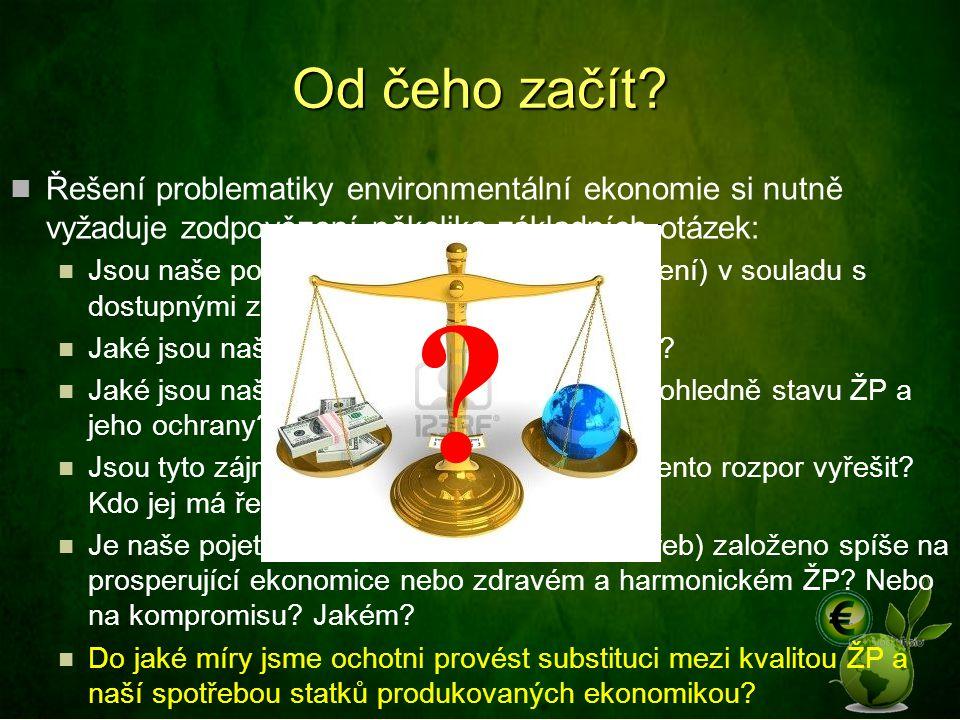 Od čeho začít Řešení problematiky environmentální ekonomie si nutně vyžaduje zodpovězení několika základních otázek: