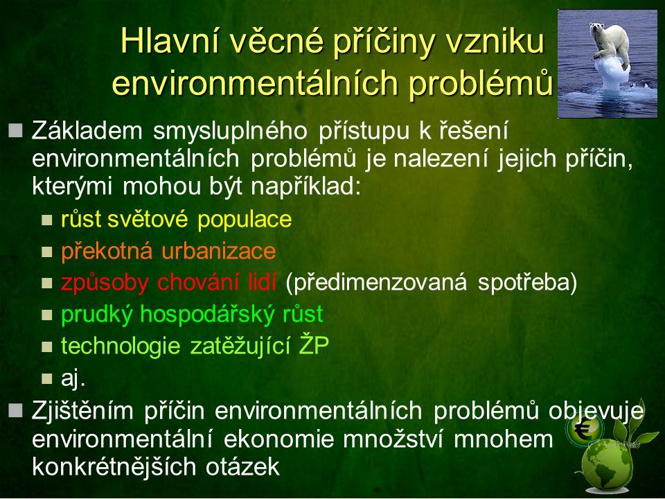 Hlavní věcné příčiny vzniku environmentálních problémů