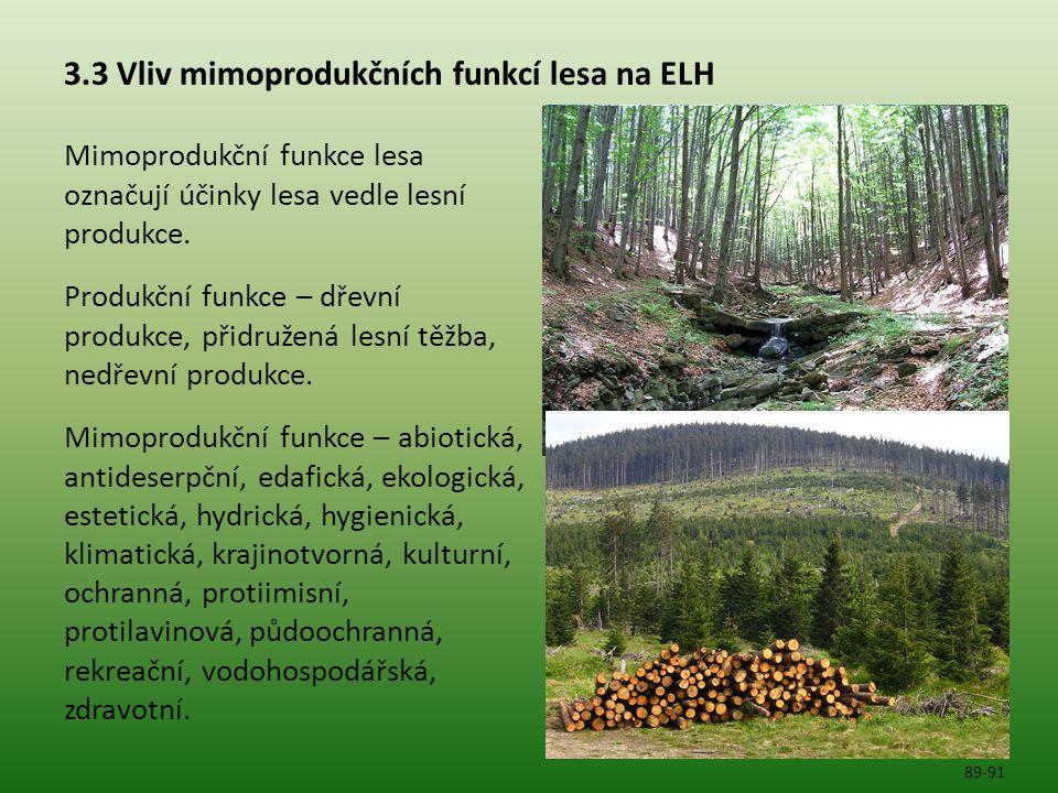 3.3 Vliv mimoprodukčních funkcí lesa na ELH