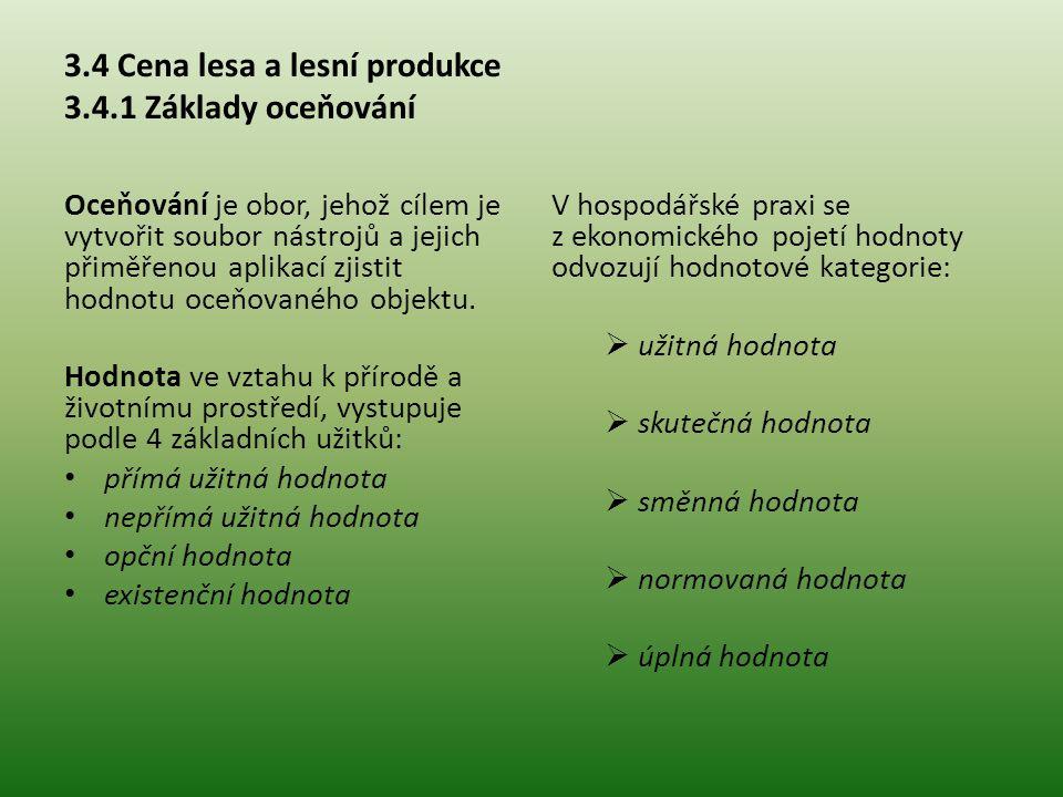 3.4 Cena lesa a lesní produkce 3.4.1 Základy oceňování