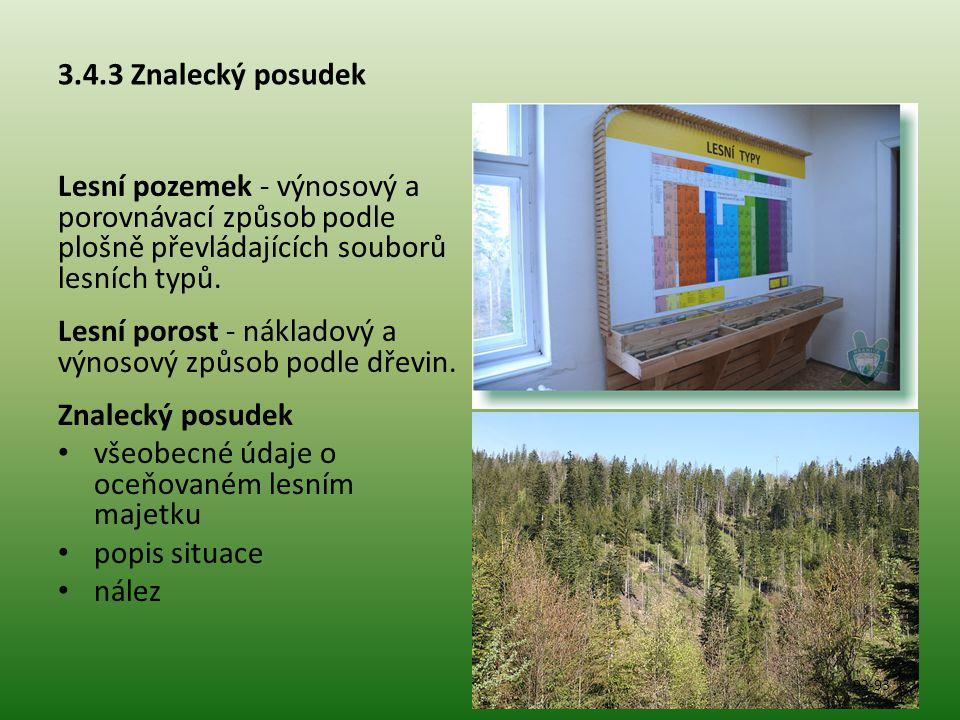 Lesní porost - nákladový a výnosový způsob podle dřevin.