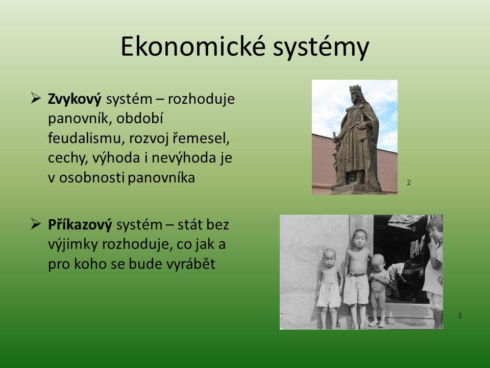 Ekonomické systémy Zvykový systém – rozhoduje panovník, období feudalismu, rozvoj řemesel, cechy, výhoda i nevýhoda je v osobnosti panovníka.