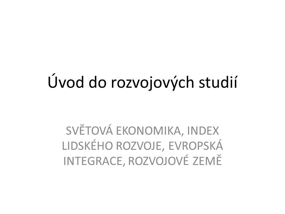 Úvod do rozvojových studií