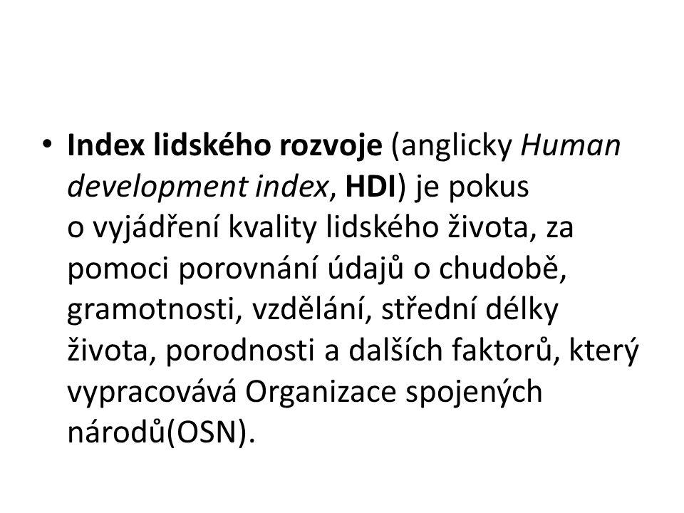 Index lidského rozvoje (anglicky Human development index, HDI) je pokus o vyjádření kvality lidského života, za pomoci porovnání údajů o chudobě, gramotnosti, vzdělání, střední délky života, porodnosti a dalších faktorů, který vypracovává Organizace spojených národů(OSN).