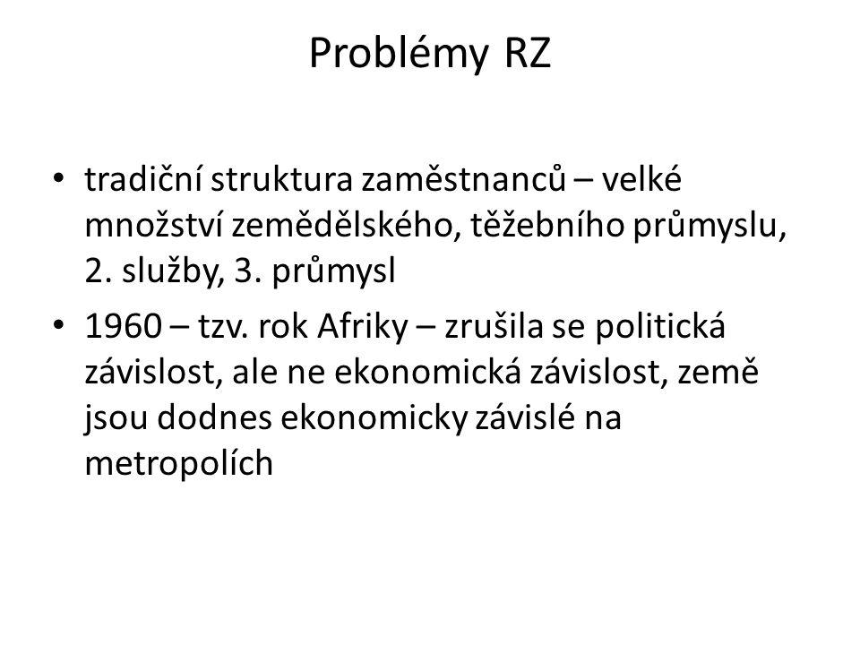Problémy RZ tradiční struktura zaměstnanců – velké množství zemědělského, těžebního průmyslu, 2. služby, 3. průmysl.