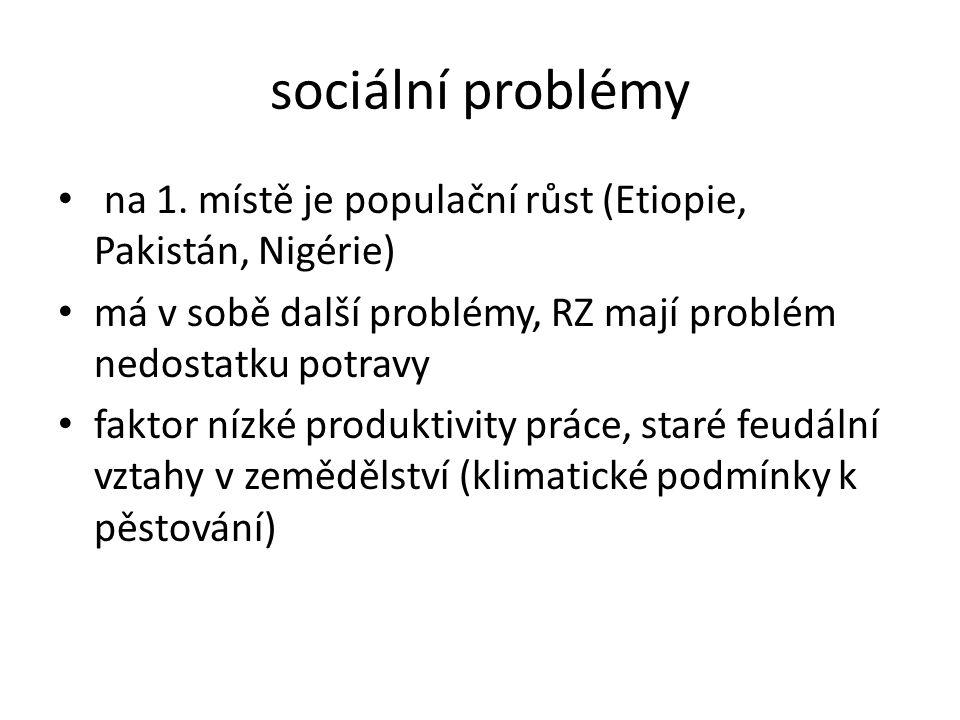 sociální problémy na 1. místě je populační růst (Etiopie, Pakistán, Nigérie) má v sobě další problémy, RZ mají problém nedostatku potravy.