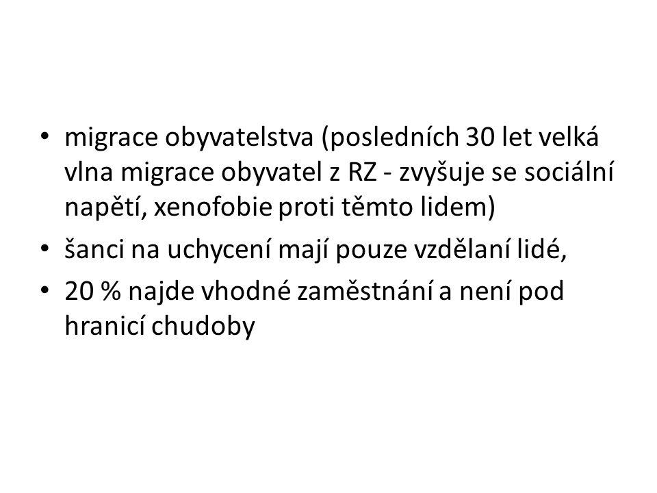 migrace obyvatelstva (posledních 30 let velká vlna migrace obyvatel z RZ - zvyšuje se sociální napětí, xenofobie proti těmto lidem)