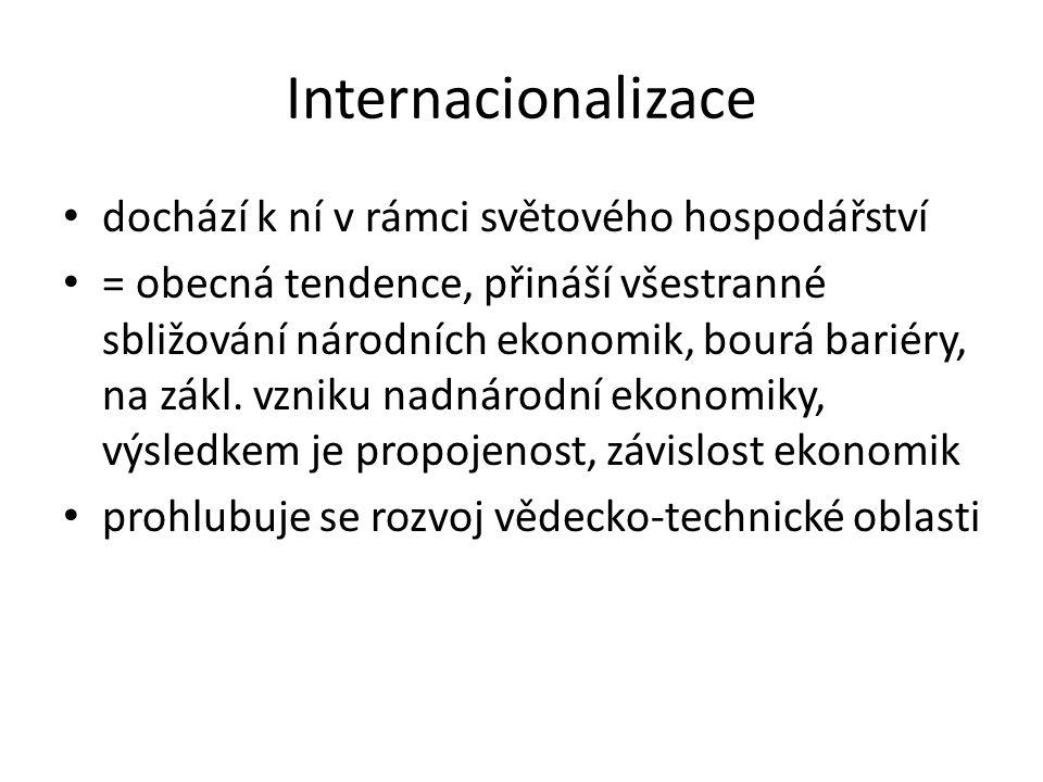 Internacionalizace dochází k ní v rámci světového hospodářství