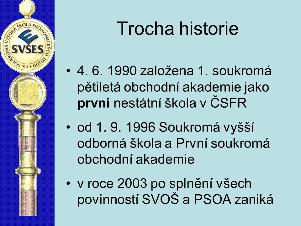 Trocha historie 4. 6. 1990 založena 1. soukromá pětiletá obchodní akademie jako první nestátní škola v ČSFR.