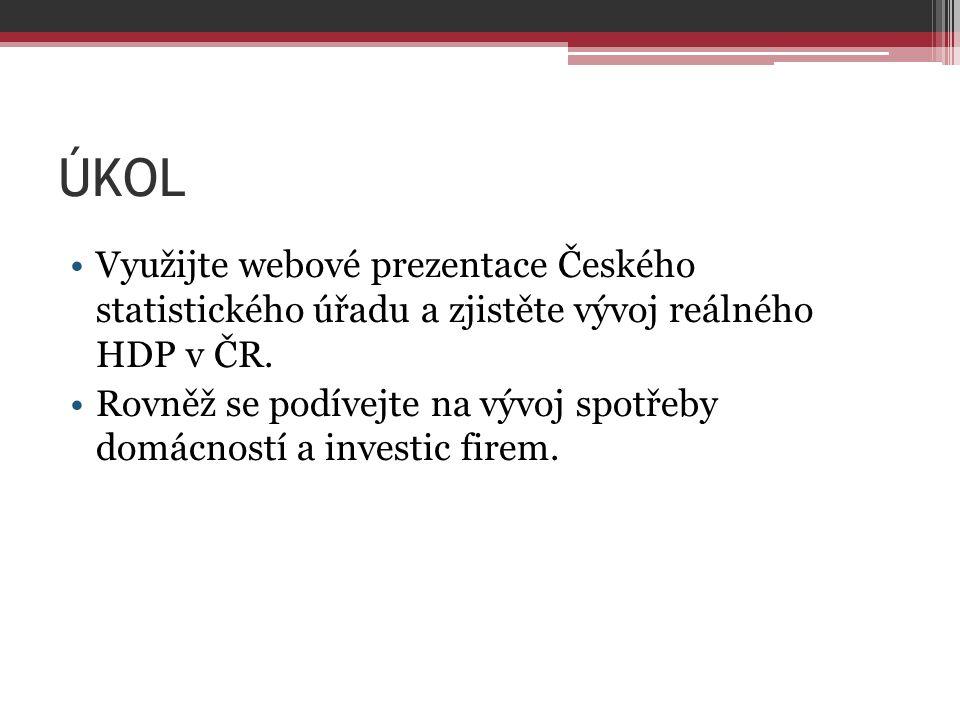 ÚKOL Využijte webové prezentace Českého statistického úřadu a zjistěte vývoj reálného HDP v ČR.