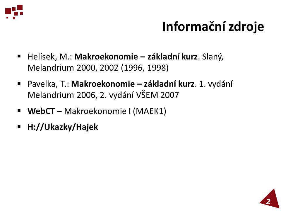 Informační zdroje Helísek, M.: Makroekonomie – základní kurz. Slaný, Melandrium 2000, 2002 (1996, 1998)