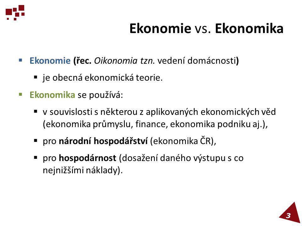 Ekonomie vs. Ekonomika Ekonomie (řec. Oikonomia tzn. vedení domácnosti) je obecná ekonomická teorie.