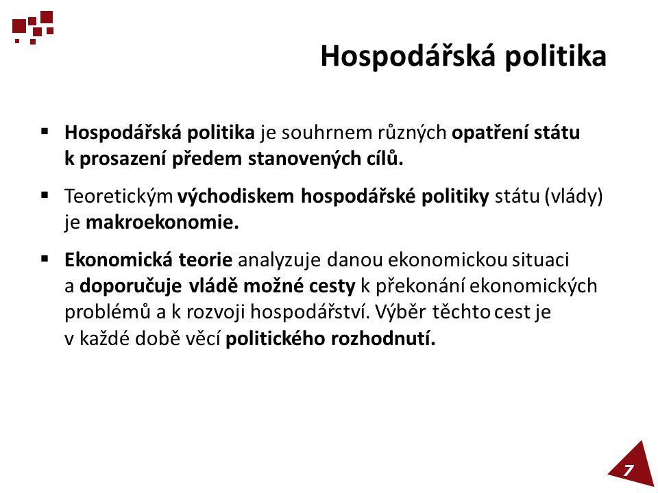 Hospodářská politika Hospodářská politika je souhrnem různých opatření státu k prosazení předem stanovených cílů.