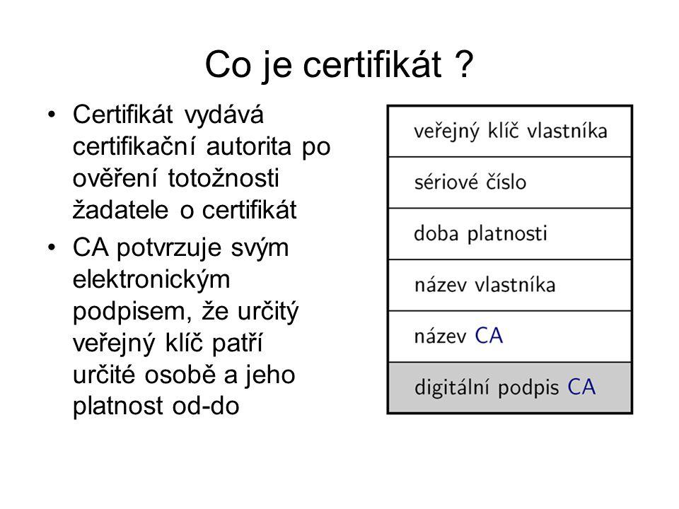 Co je certifikát Certifikát vydává certifikační autorita po ověření totožnosti žadatele o certifikát.