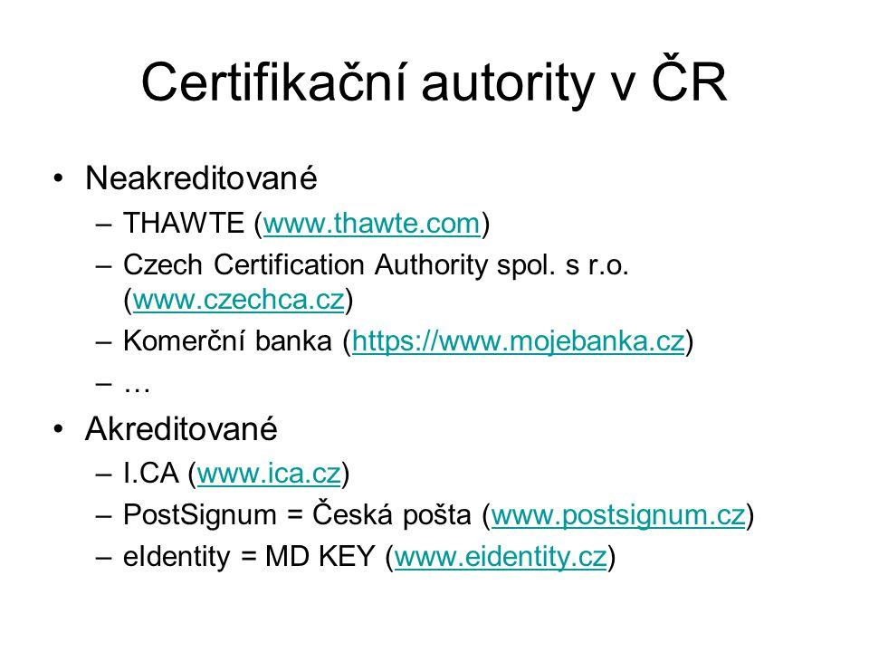 Certifikační autority v ČR