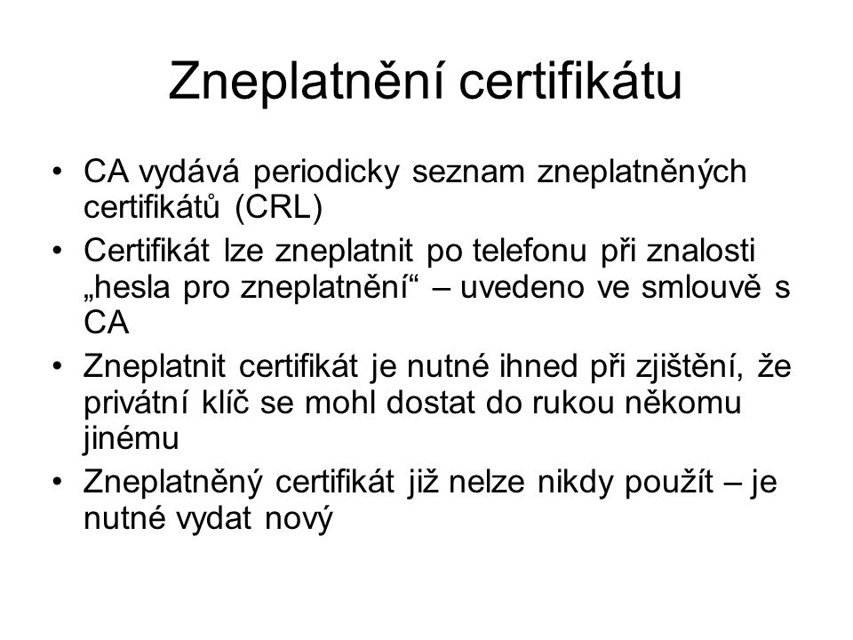 Zneplatnění certifikátu