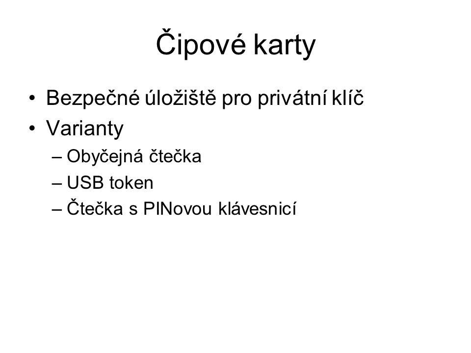 Čipové karty Bezpečné úložiště pro privátní klíč Varianty