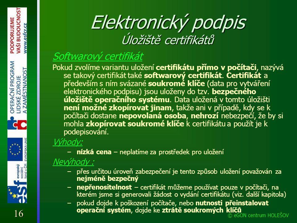 Elektronický podpis Úložiště certifikátů