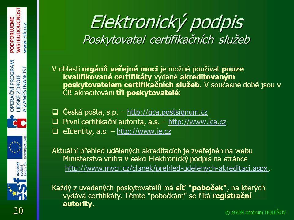 Elektronický podpis Poskytovatel certifikačních služeb
