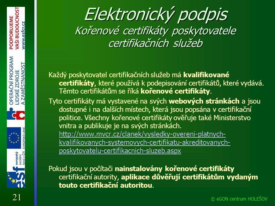 Elektronický podpis Kořenové certifikáty poskytovatele certifikačních služeb