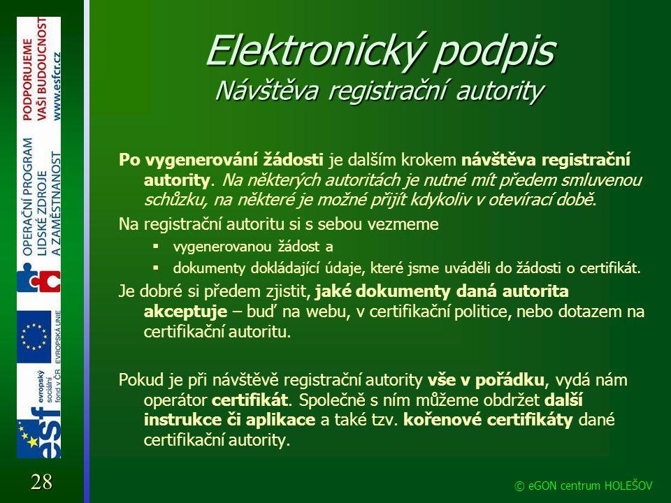 Elektronický podpis Návštěva registrační autority