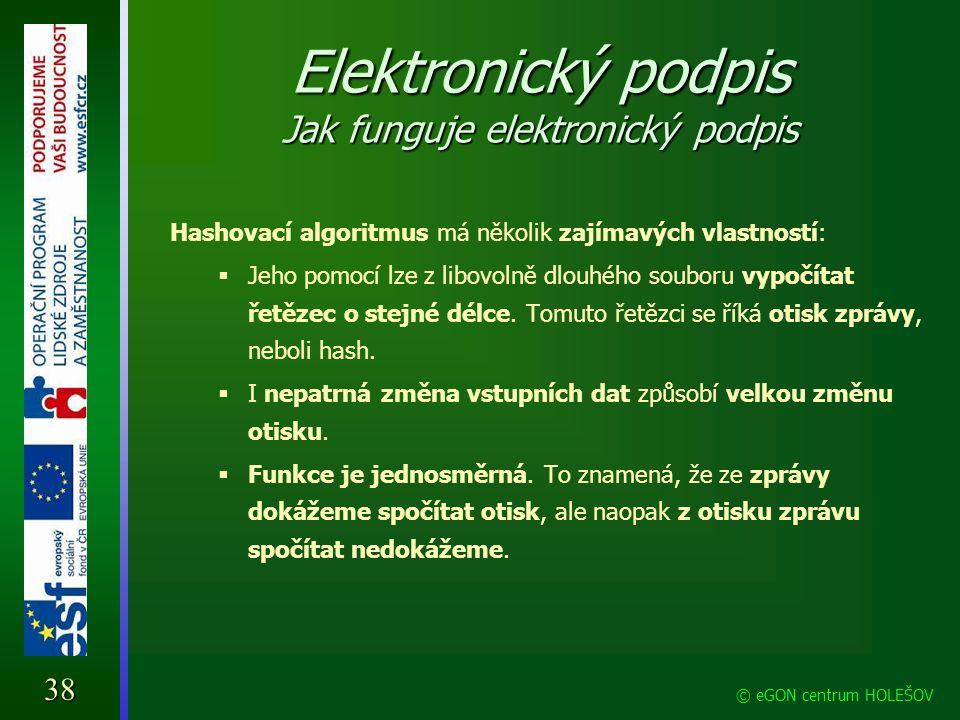 Elektronický podpis Jak funguje elektronický podpis