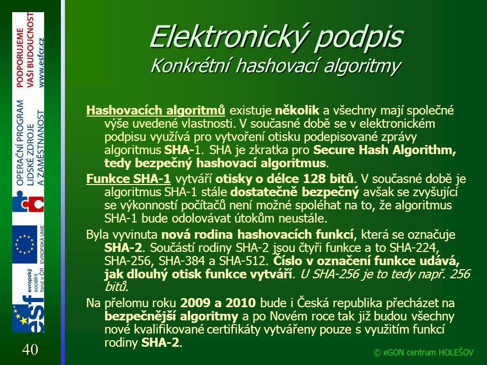 Elektronický podpis Konkrétní hashovací algoritmy