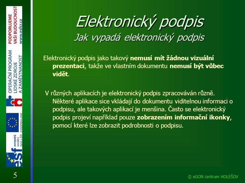Elektronický podpis Jak vypadá elektronický podpis