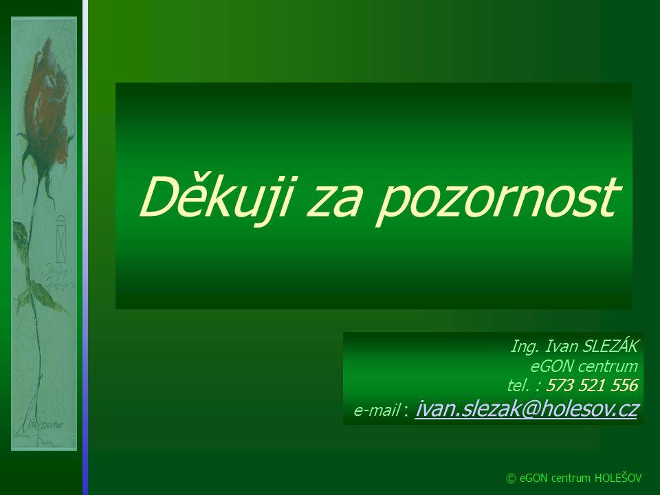 Děkuji za pozornost Ing. Ivan SLEZÁK eGON centrum tel. : 573 521 556 e-mail : ivan.slezak@holesov.cz.