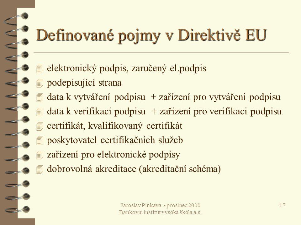 Definované pojmy v Direktivě EU