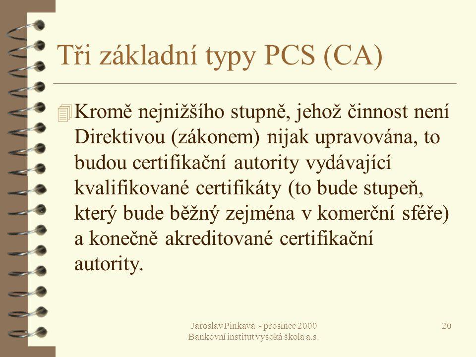 Tři základní typy PCS (CA)