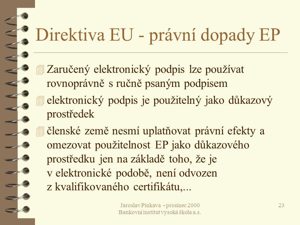 Direktiva EU - právní dopady EP