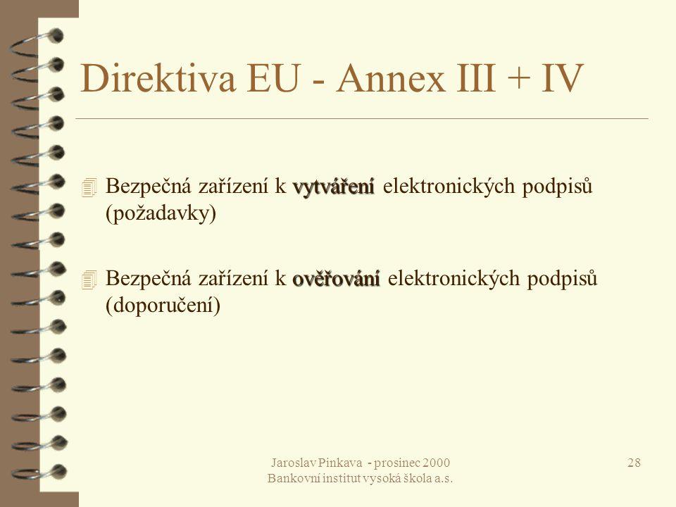Direktiva EU - Annex III + IV