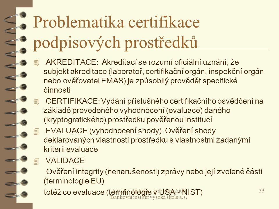 Problematika certifikace podpisových prostředků