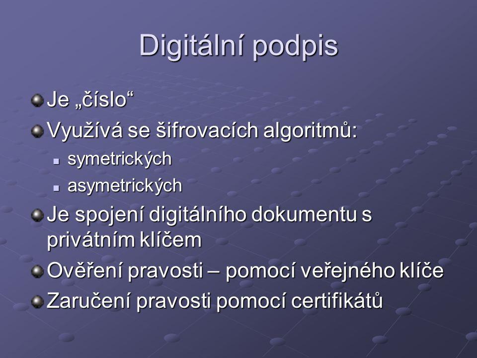 """Digitální podpis Je """"číslo Využívá se šifrovacích algoritmů:"""