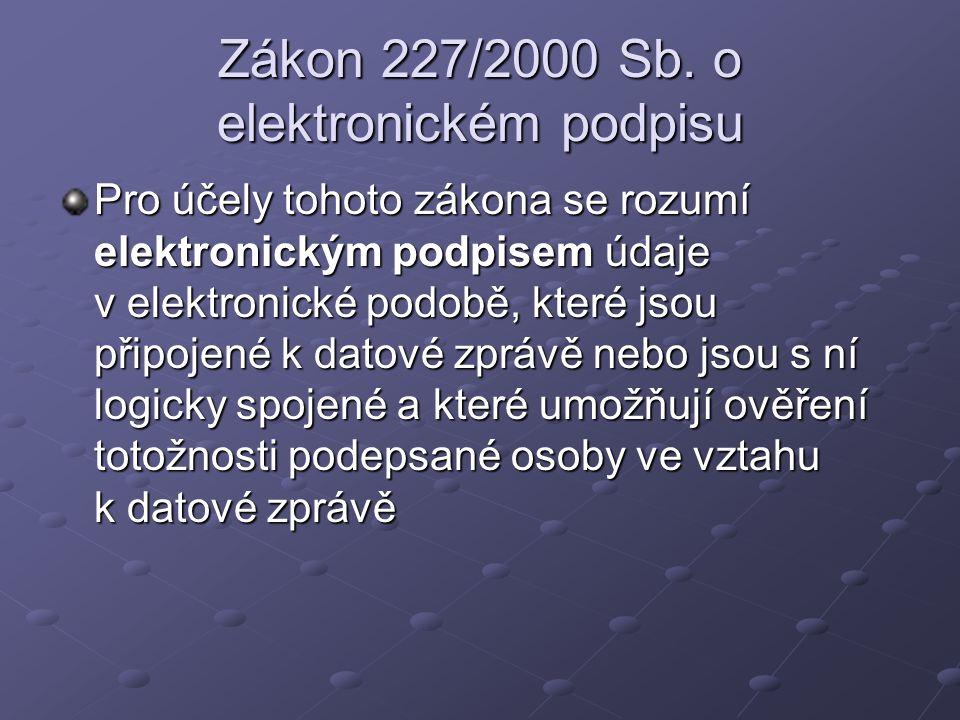Zákon 227/2000 Sb. o elektronickém podpisu