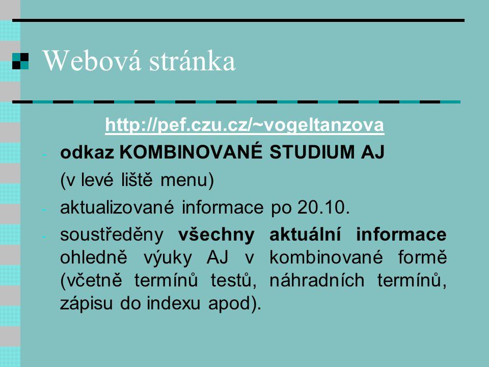 Webová stránka http://pef.czu.cz/~vogeltanzova