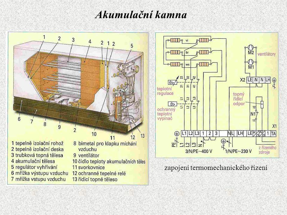 Akumulační kamna zapojení termomechanického řízení