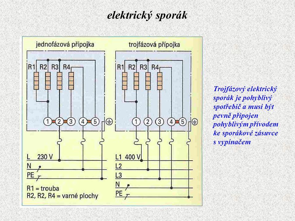 elektrický sporák Trojfázový elektrický sporák je pohyblivý spotřebič a musí být pevně připojen pohyblivým přívodem ke sporákové zásuvce s vypínačem.
