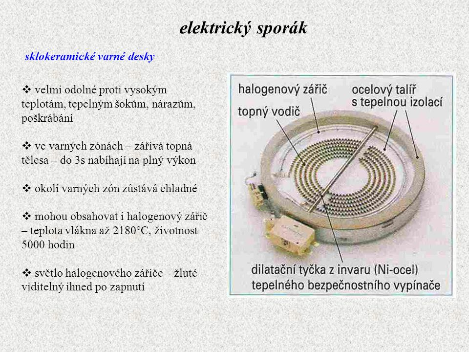 elektrický sporák sklokeramické varné desky